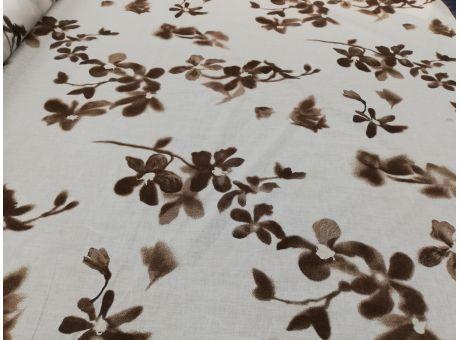 Bawełna - Delikate kwiaty na białym tle