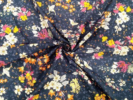 Bawełna - Kwiaty i żurawie