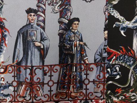Jedwab sygnowany domy w Pekinie raport