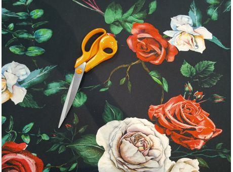 Bawełna Sorella róże na czarnym tle