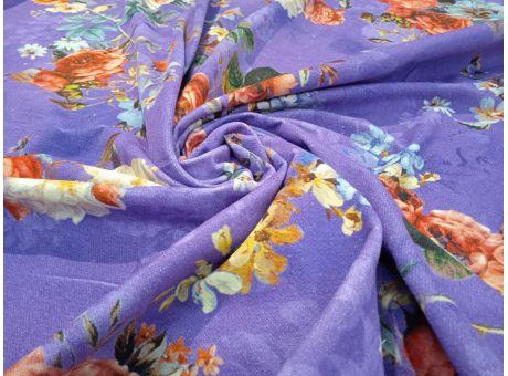Bawełna Sorella fioletowe tło w kwiaty