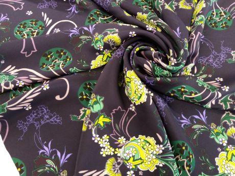 Jedwab Sygnowany - Kwiaty Na Granacie