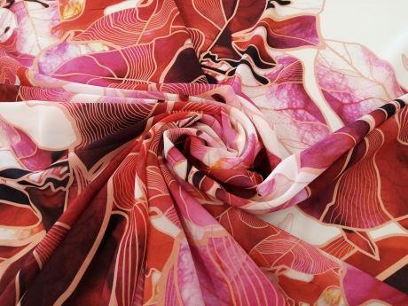 Jedwab sygnowany - koralowe kwiaty