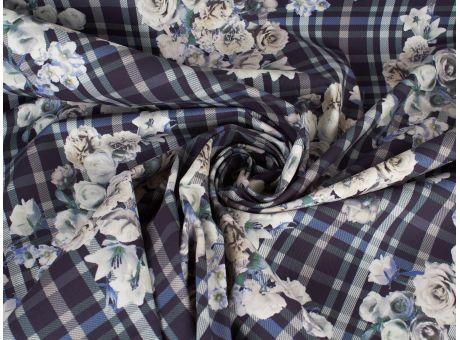 Bawełna wzór krata i kwiaty