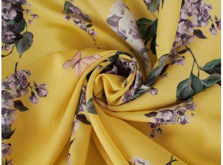 Jedwab Sygnowany - Kwiat Jabłoni & Motyle