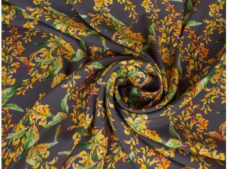 Jedwab sygnowany musztardowe kwiaty i popiel