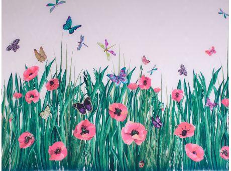 Jedwab Sygnowany - Maki i Motyle