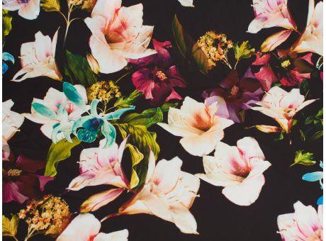 Charlie na sukienkę - kwiaty na czarnym!