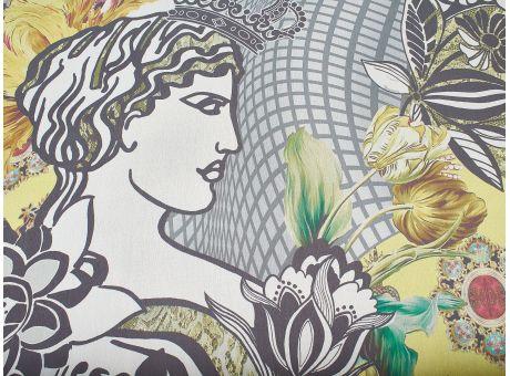 Jedwab sygnowany królowa i kot w stylu D&G!