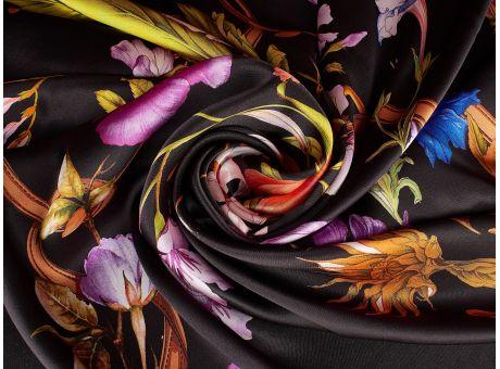 Jedwab sygnowany kwiaty i łańcuch