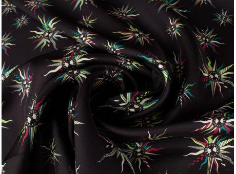 Jedwab Sygnowany diagonalny - Róż wiatrów - czarne tło
