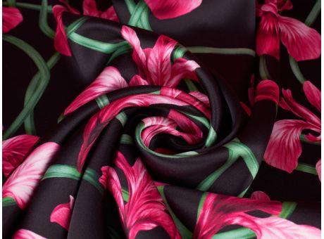 Jedwab Sygnowany - Różowe Irysy
