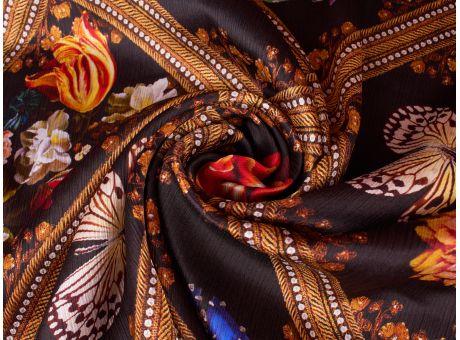 Jedwab sygnowany kreszowanay - motyle i kwiaty
