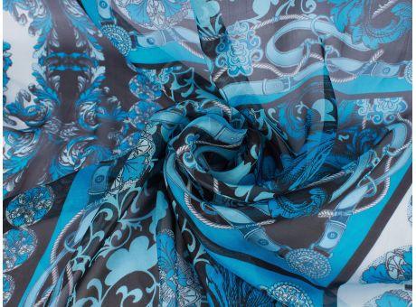 Jedwab Sygnowany - błękitny szyfon